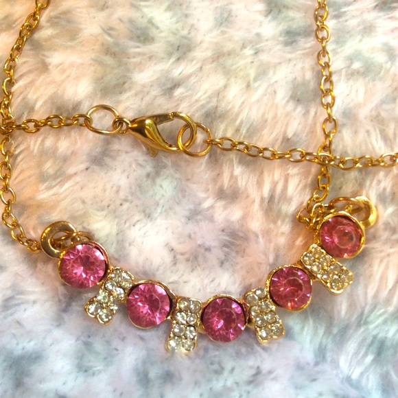 Crystal Necklace delicate clear & pink rhinestone